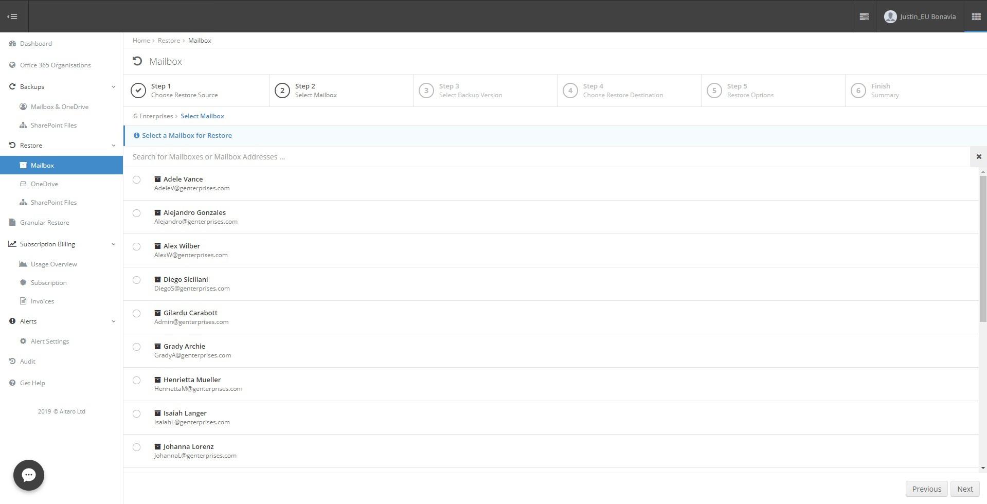 Microsoft 365 Backup Dashboard Select Mailboxes